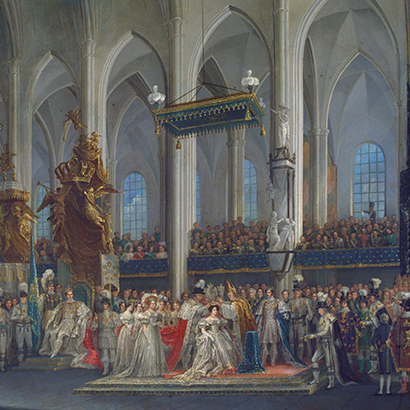 Painting Queen Desideria Désirée's coronation by Fredric Westin the Royal Collections